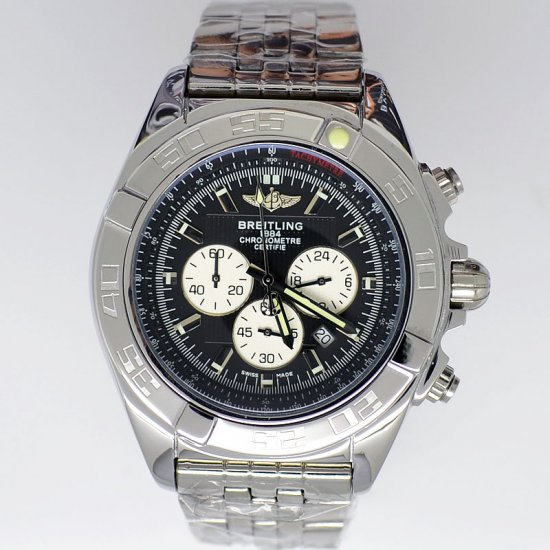 Breitling Chronomat B01 Certifie 1884 Stainless Steel Black Face Replica Watch