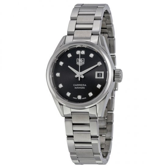 Tag Heuer Carrera Automatic Black Dial Stainless Steel Ladies Watch WAR2413.BA0776