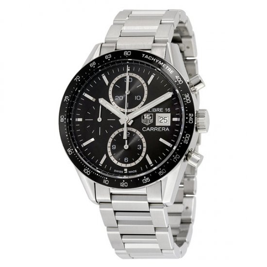 Tag Heuer Carrera Black Dial Chronograph Stainless Steel Automatic Men\'s Watch CV201AJ.BA0727