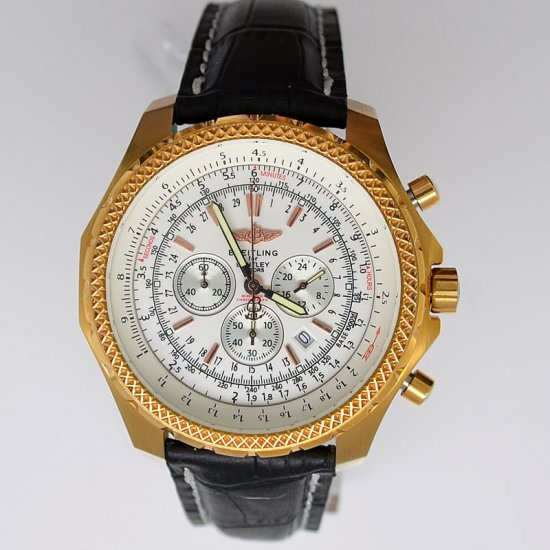 Breitling Bentley Motors T Rose Gold Leather White Dial Watch