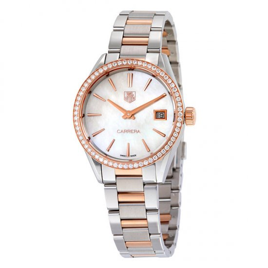 Tag Heuer Carrera Mother of Pearl Dial Diamond Bezel Steel and 18kt Rose Gold Ladies Watch WAR1353.BD0779