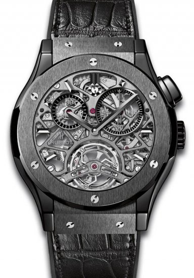 Hublot Classic Fusion Tourbillion All Black Skeleton Dial Ceramic Men\'s Watch Replica