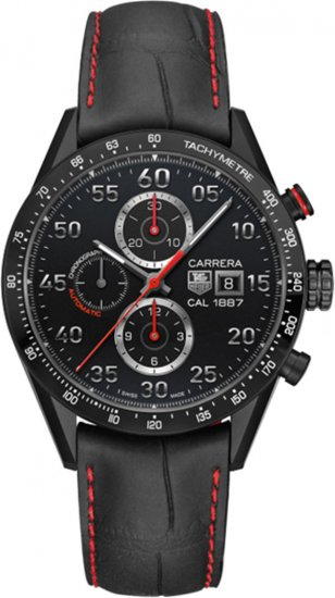 Tag Heuer Carrera 1887 Chronograph Automatic Black Dial Black Leather Men\'s Watch CAR2A80