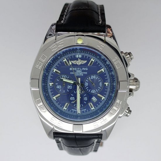 Breitling Chronomat B01 Certifie 1884 Leather Strap Blue Face