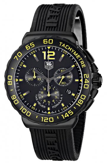 Tag Heuer Formula 1 Chronograph Black and Yellow Dial Black Rubber Men\'s Watch CAU111EFT6024