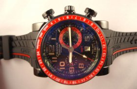 GRAHAM GMT CHRONO QUARTZ PVD GREEN BEZ RUBBER BLACK CARBON FIBRE