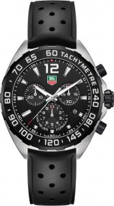 Tag Heuer Formula 1 Chronograph Black Dial Black Rubber Men's Watch CAZ1110.FT8023