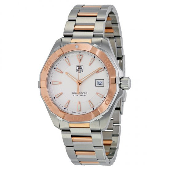 Tag Heuer Aquaracer Silver Dial Steel and 18kt Rose Gold Men\'s Watch WAY1150.BD0911