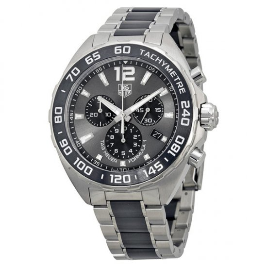 Tag Heuer Formula 1 Grey Dial Stainless Steel and Black Ceramic Men\'s Watch CAZ1111.BA0878