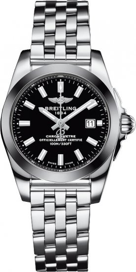 Breitling Galactic Stainless Steel Black Dial Ladies W7234812/BE49 791A Watch