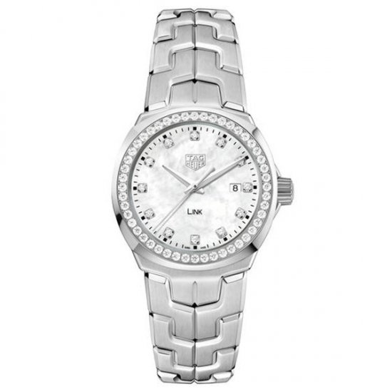TAG Heuer LINK White Mother of Pearl and Diamond Dial Diamond Bezel Watch WBC1316.BA0600
