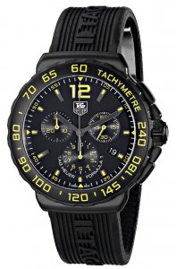 Tag Heuer Formula 1 Chronograph Black and Yellow Dial Black Rubber Men's Watch CAU111EFT6024