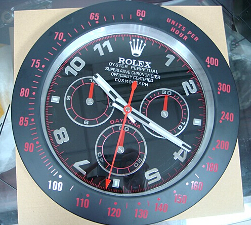 Rolex Daytona wall clock Replica black case/red tick with black Dial