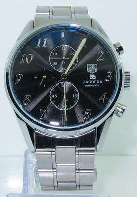 Tag Heuer Carrera Heritage Calibre 16 Automatic Chrongraph Black Watch steel bracelet