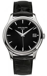 Patek Philippe NEW Calatrava Mechanical Black Dial Leather Mens Watch Fake