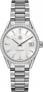 Tag Heuer Carrera Mother of Pearl Dial Diamond Stainless Steel Ladies Watch WAR1315.BA0778
