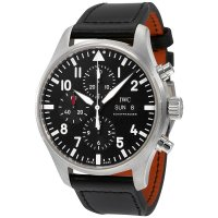 Replica IWC Pilot Black Automatic Chronograph Men's Watch IW377709