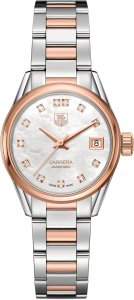 Tag Heuer Carrera Mother of Pearl Diamond Steel and 18K Rose Gold Ladies Watch WAR2452.BD0777