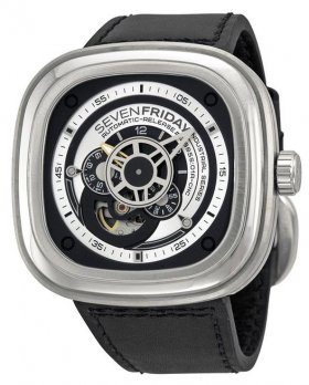 Sevenfriday P1-1 Industrial Essence Silver and Black Dial Automatic Watch