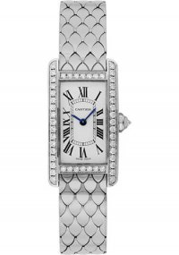 Cartier Tank Americaine Silver Dial White Gold Bracelet Ladies Watch WB710009