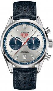 Tag Heuer Carrera Silver Dial Chronograph Blue Leather Men's Watch CV5111FC6335